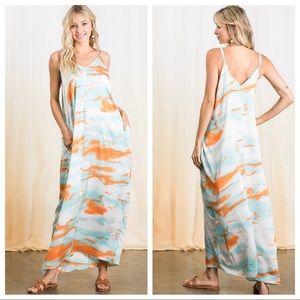 Boho Chic Tye Dye Print Side Pockets Maxi Dress
